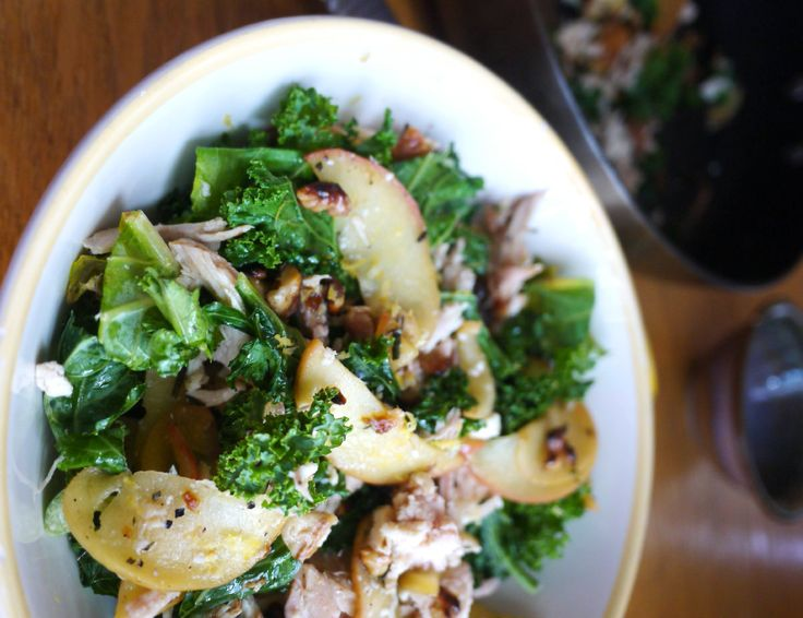 Kale and Apple Salad with Chicken, Feta, and Toasted Walnuts | Recipe