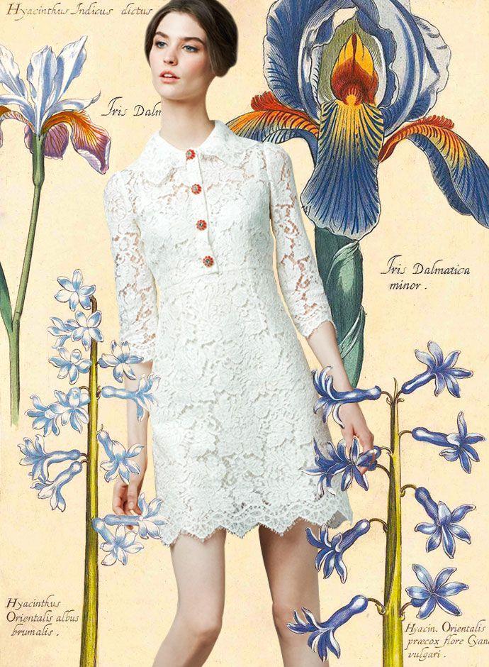 Посмотрите Дня Dolce & Gabbana весна-лето 2014 женская одежда белого кружева мини-платье -