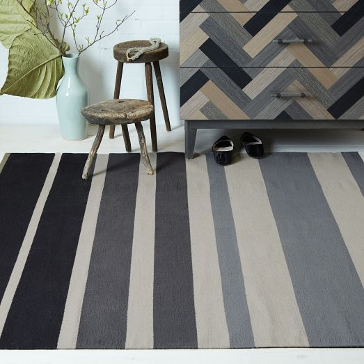 Gradated Stripe Cotton Dhurrie, Feather Gray, 3'x5'