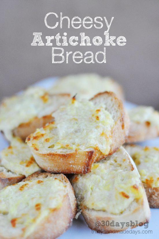 Super Bowl Appetizer from @30daysblog Easy Cheesy Artichoke Bread