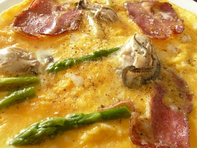 Hangtown Fry with Coppa di Parma and green asparagus