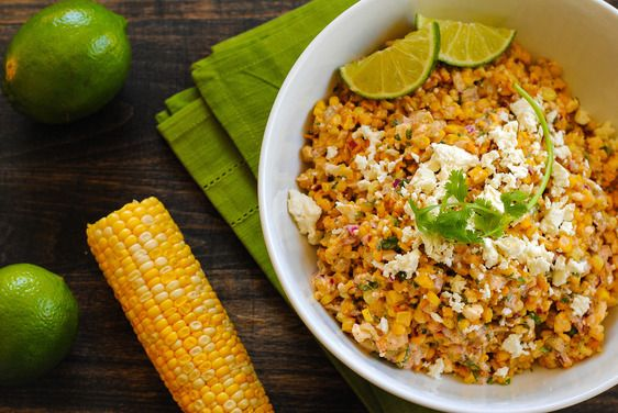 Roasted Mexican Street Corn Salad - elotes in salad form, and in oven