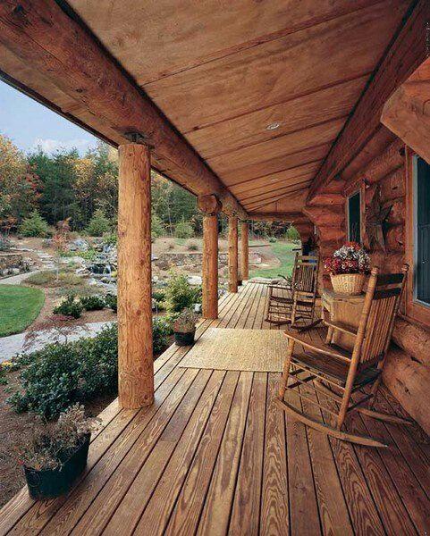 rustic log cabin porch pleasure in porches pinterest