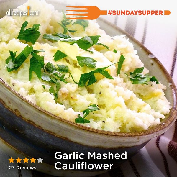 "Garlic Mashed Cauliflower | ""Holy cow! This is the bomb. So easy ..."