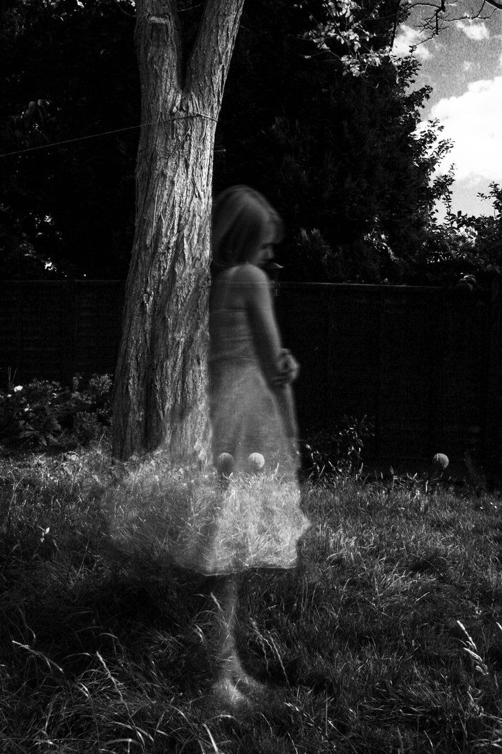 Lonely Ghost Girl Tree Black White | Dress - Photograph