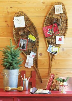 Show everyone how popular you are by displaying your holiday cards with repurposed winter gear.