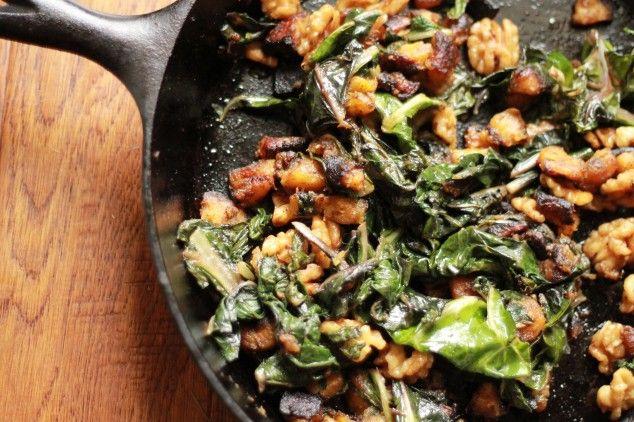 Warm Swiss Chard and Acorn Squash Salad with Orange Vinaigrette
