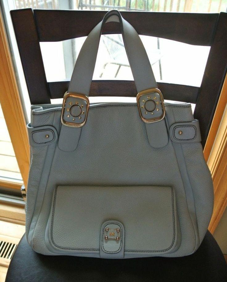 michael kors light blue baby blue pebbled leather purse bag handbag g. Black Bedroom Furniture Sets. Home Design Ideas
