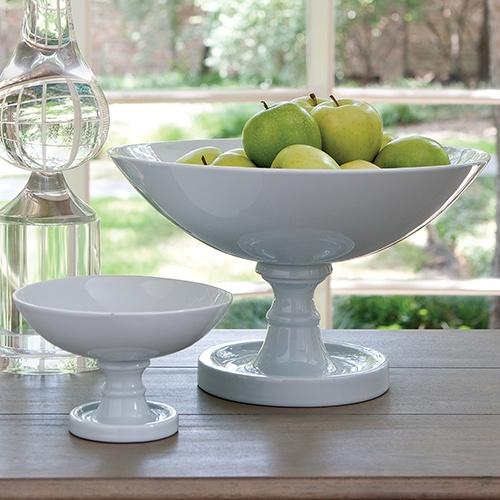 """Global Views   8.81550 Pedestal Bowl-Chalk Blue-Lg         9""""DIA x 15""""H          8.81551 Pedestal Bowl-Chalk Blue-Sm         7.5""""DIA x 5""""H"""