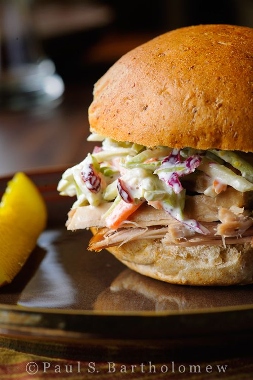 pulled pork sandwich with broccoli slaw no recipe given on the website ...