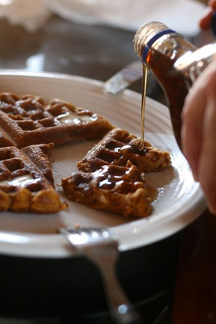 Spiced Pumpkin Waffles- made this morning very yummy