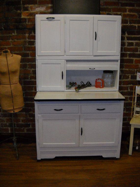 Antique vintage hoosier cabinet kitchen w flour bin for Antique kitchen cabinets with flour sifter