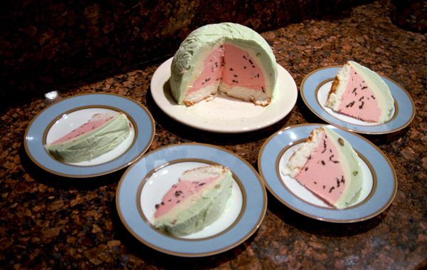 Watermelon Bombe - very fun (and delicious!) for summertime
