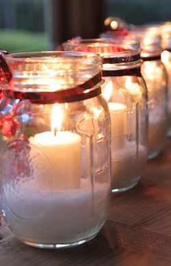 Snow candles... so easy and inexpensive and makes a beautiful little gift for neighbors, friends, or just fun to decorate with!