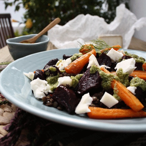 Warm Roasted Beetroot, Carrot, Lentil and Goats Cheese Salad with Dill ...