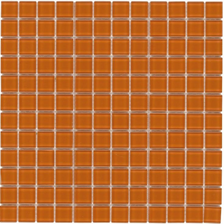 glass mosaic tile backsplash orange 1x1