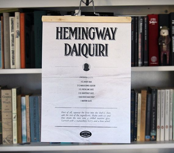 Hemingway Daiquiri minimalist drink poster free by OurBrokenHouse ...
