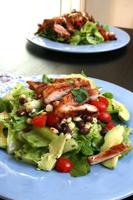 Southwestern Grilled Chicken Salad with Cherry Tomato-Black Bean-Corn ...