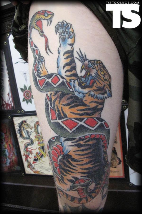 tattoo snake tiger traditional traditional pinterest. Black Bedroom Furniture Sets. Home Design Ideas