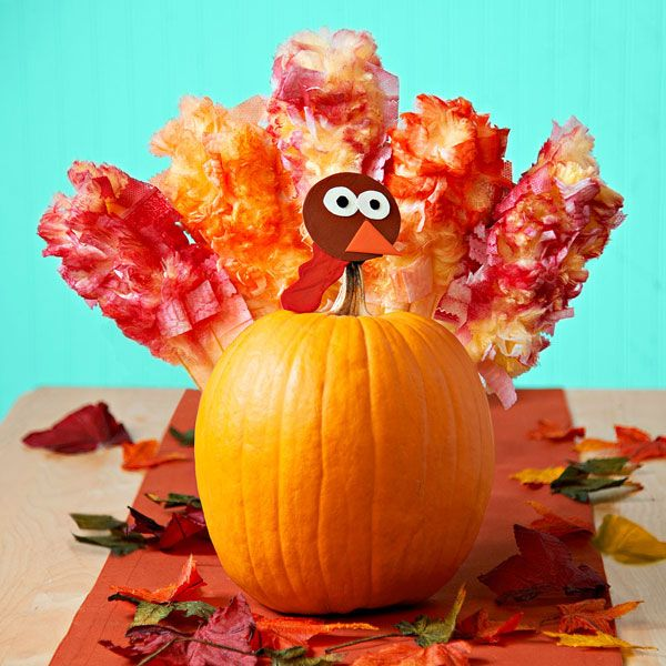 Leftover pumpkin into a cute turkey decoration for thanksgiving