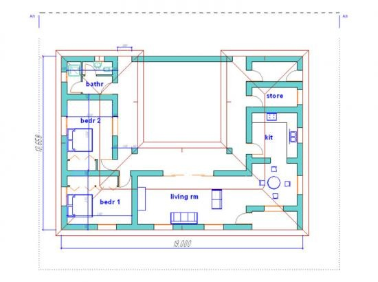 Rammed earth house plan passive solar passive house for Earth homes floor plans