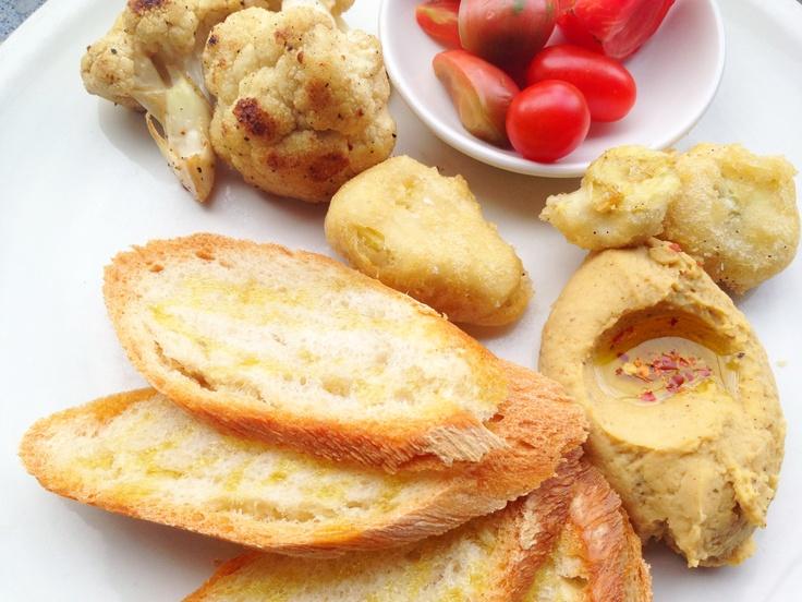 ... Cauliflower, Heirloom Tomatoes, Fried Artichokes, Hummus + Toasted