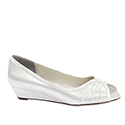 Honey White Dress Low Wedge Wide Width Bridal Wedding Shoes