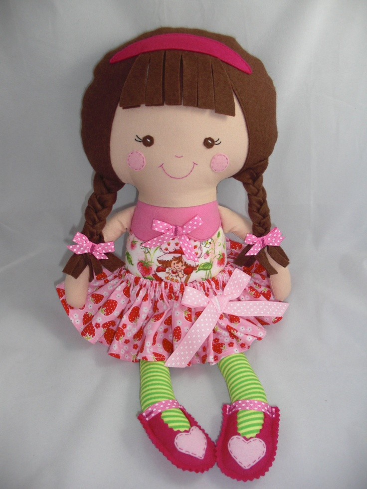 Dress up Doll, Cloth Doll, baby doll, Strawberry Shortcake, Ready to ship.. $42.00, via Etsy.