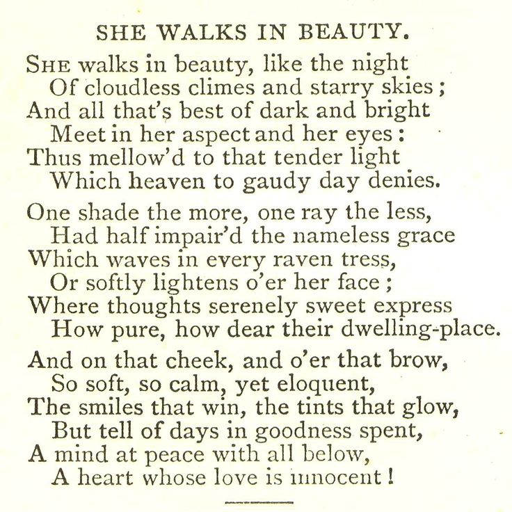 essay on she walks in beauty analysis The progression of stanzas in she walks in beauty tell of various aspects of the beauty of a woman the first stanza compares the woman to the beauty of the night she walks in beauty, like the .
