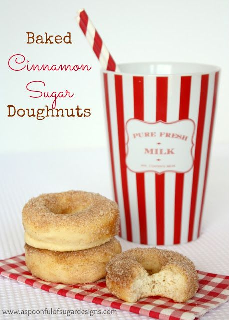 Baked Cinnamon Sugar Doughnuts | A Spoonful of Sugar