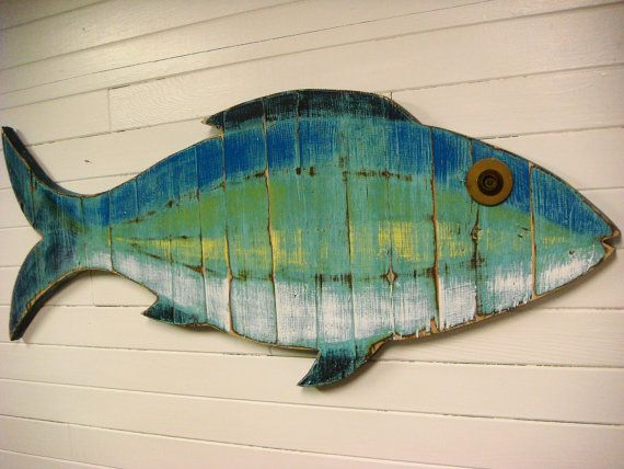 Fish sign beach house weathered wood wall art in sea glass for Wooden fish wall decor
