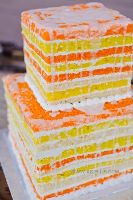 orange and yellow naked wedding cake by www.thecakeladys.com | photo by www.acellis.com