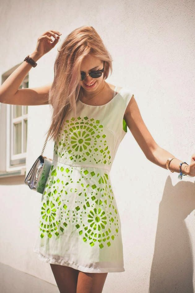 Street Style White Dress With Green Pattern on it Looks Glorious With Little Silver  Handbag and Bracelets