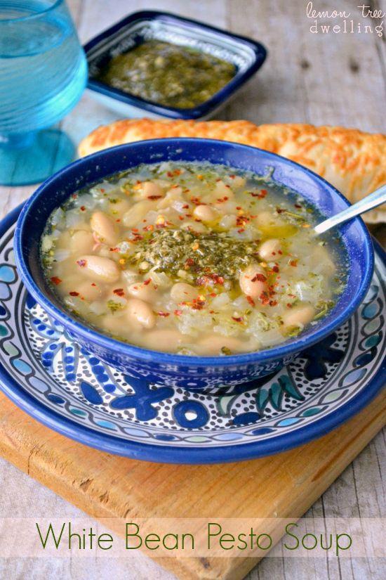 White Bean Pesto Soup   Food - Soups and Stews   Pinterest