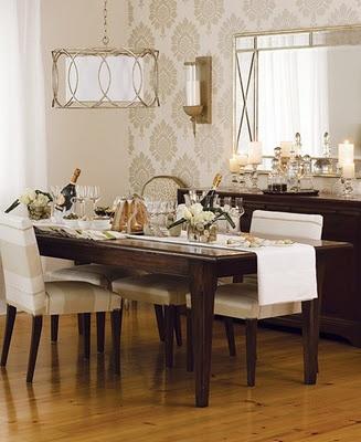 Fabulous chandelier and metallic wallpaper.