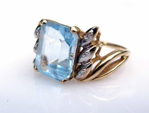 Estate Antique 4 3ct Natural Emerald Cut Aquamarine Diamonds Size 8 25 4 28g   eBay