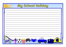 My School Holiday A4 page borders - lined (including US 'vacation ...