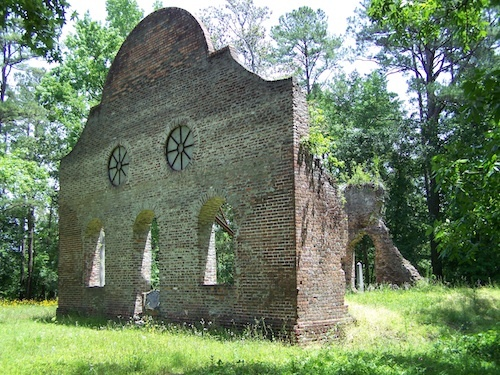 Two walls, part of the cistern, and the cemetery are all that remain of the Pon-Pon Chapel of Ease in Colleton County.