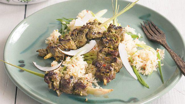 Lemongrass beef skewers on chilli ginger rice Homelife.com.au