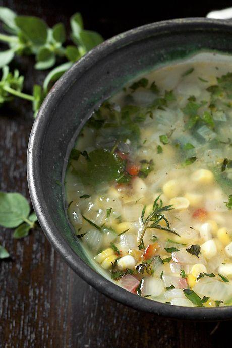 fresh corn & herb soup | Food | Pinterest