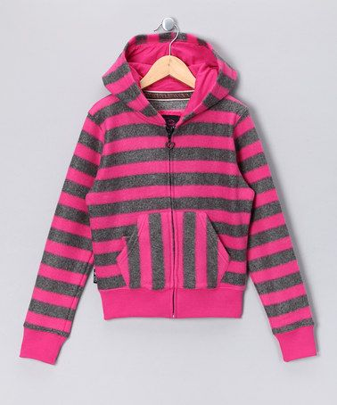 Rugged Bear Hot Pink Heart Fringe Velour Zip-Up Hoodie Set by Rugged