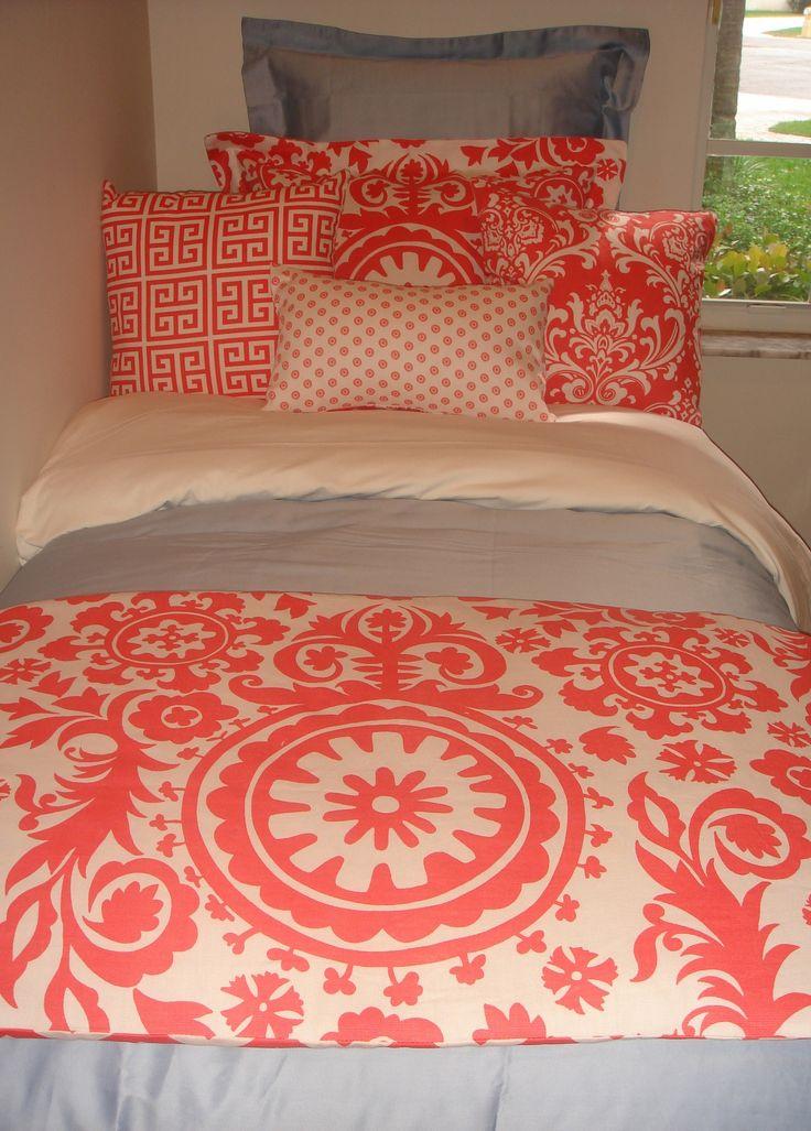 Navy Quatrefoil Coral Damask Designer Dorm Bedding Set Beautiful Cute Dorm Rooms And Guest