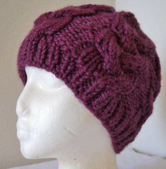 Knitting Chunky Hat : Chunky cable knit hat pdf knitting pattern