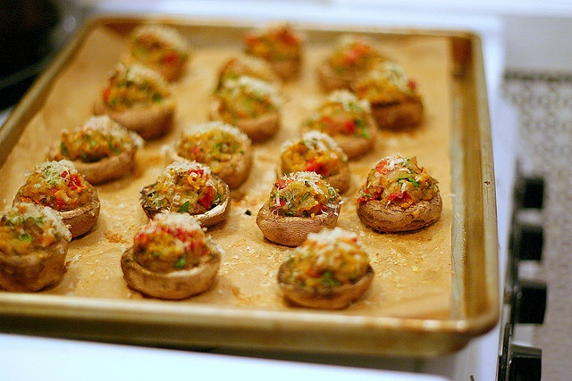 sundried tomato stuffed mushrooms cooling by smitten, via Flickr
