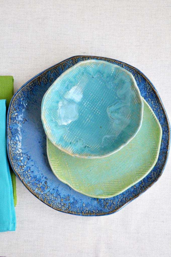 Beach Cottage handmade dinnerware from Lee Wolfe Pottery  - Analogous colors