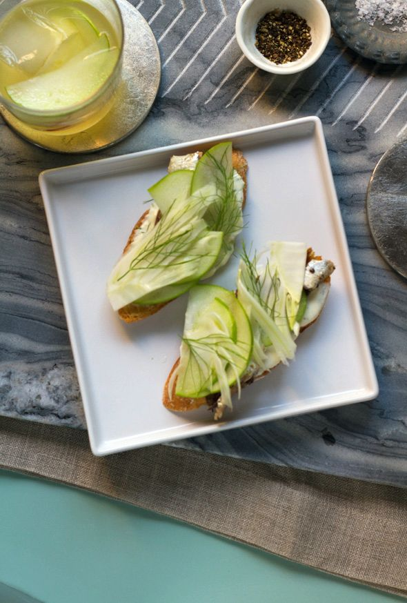 White Anchovy Toast With Pickled Fennel and Apple   Recipe