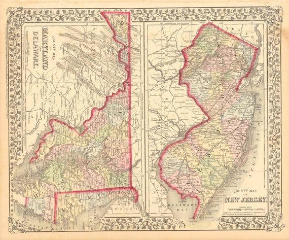 MarylandDelawareNew Jersey 1874 Map
