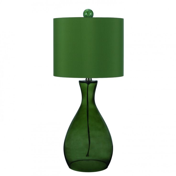 this colorful table lamp in forest green glass is hand blown with a. Black Bedroom Furniture Sets. Home Design Ideas