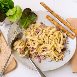 Tagliatelle Carbonara with bacon, garlic and parmesan cheese