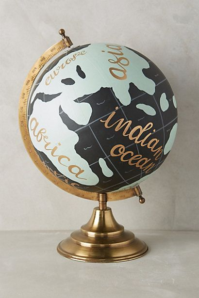 Lovely globe for the travelers at the heart!  #anthrofave #anthropologie  #hand #painted #house #home #decor #globe #decoration